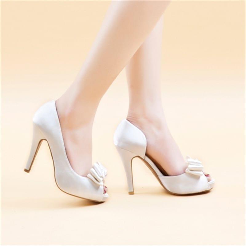 Silk Surface Bow High Heel Open Toe Satin Wedding Sandals