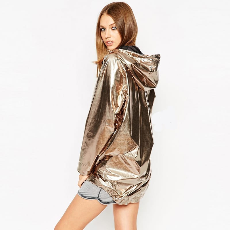 Gold Hooded With Zipper Loose Jacket