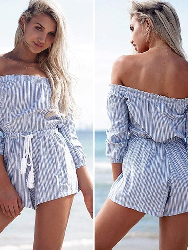 Blue Striped Beach Short Jumpsuit