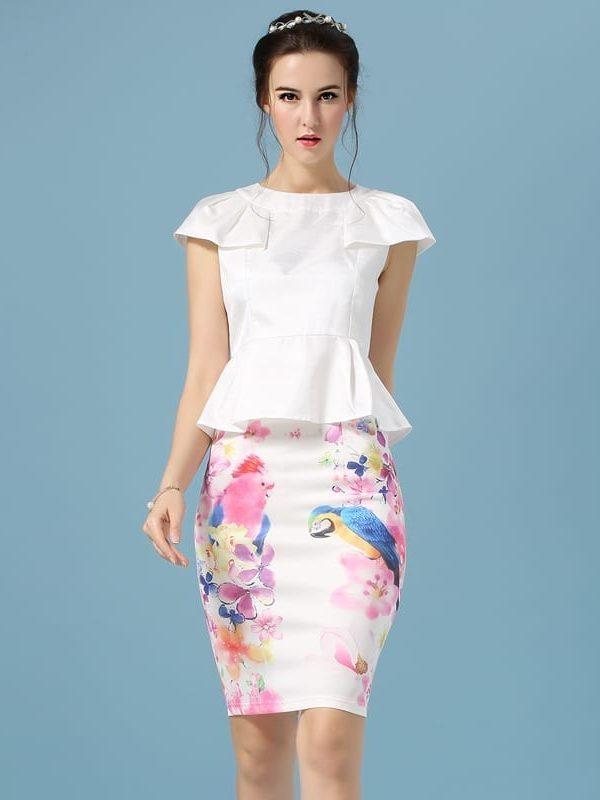 Elegant Office Pencil White Floral Bird Print High Waisted Skirt
