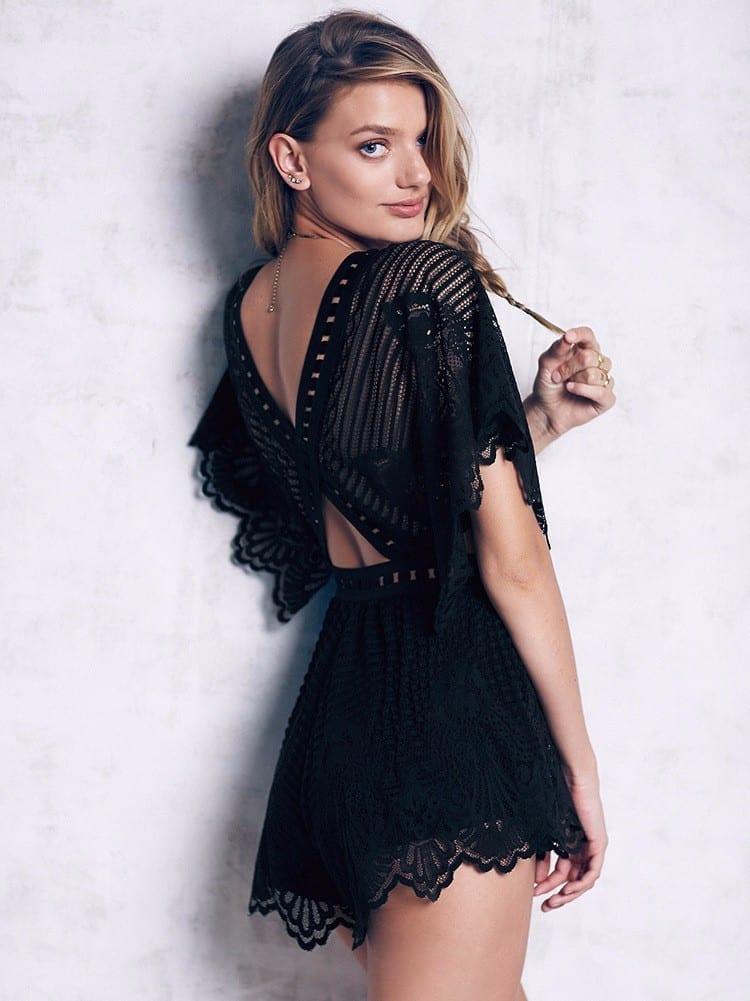 Black Lace Ruffles V-neck Short Sleeve Elegant Jumpsuit