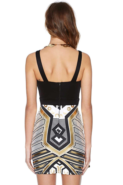 Spaghetti Strap Sleeveless Geometry Pattern Mini Bodycon Dress