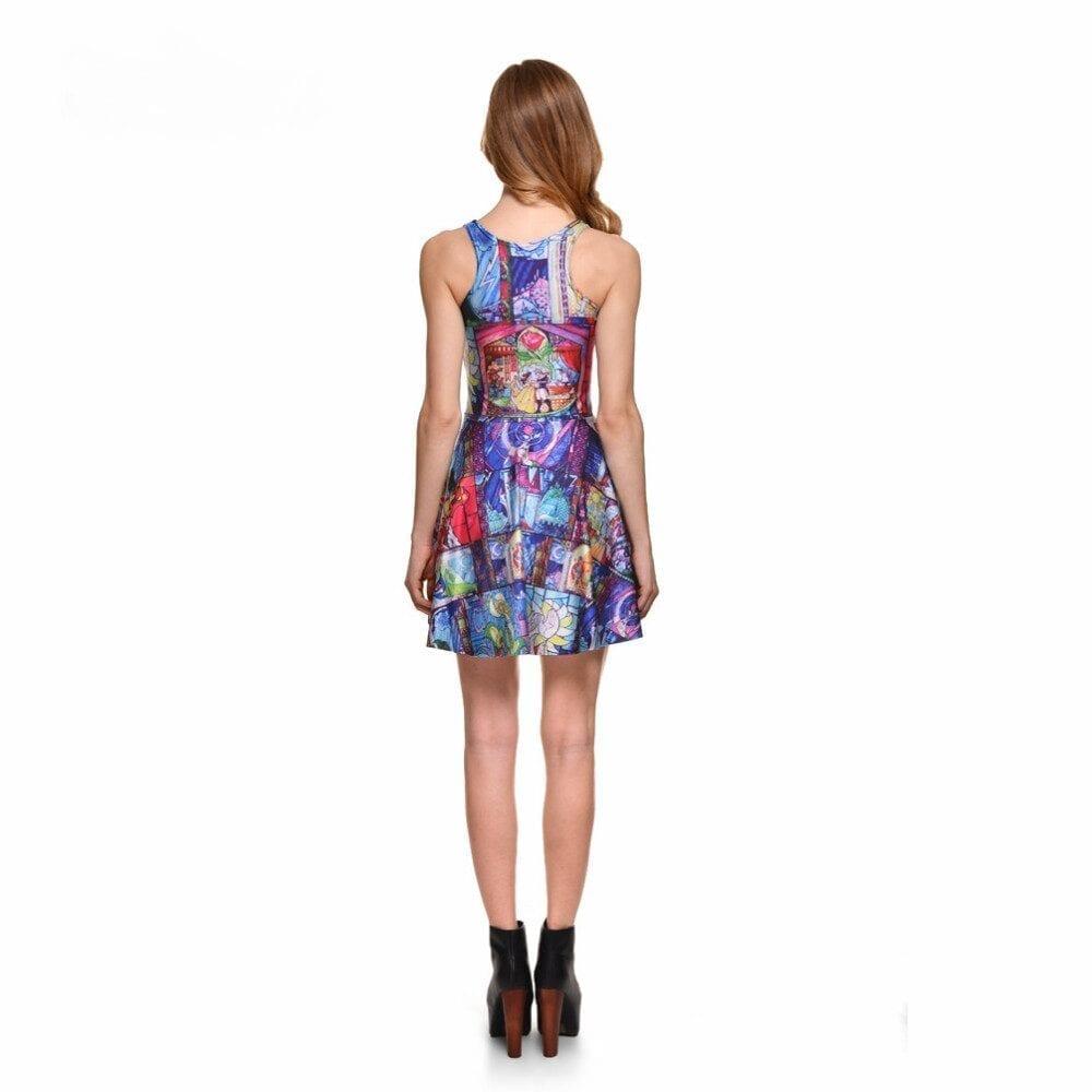 Beauty Print Skater Mini Dress