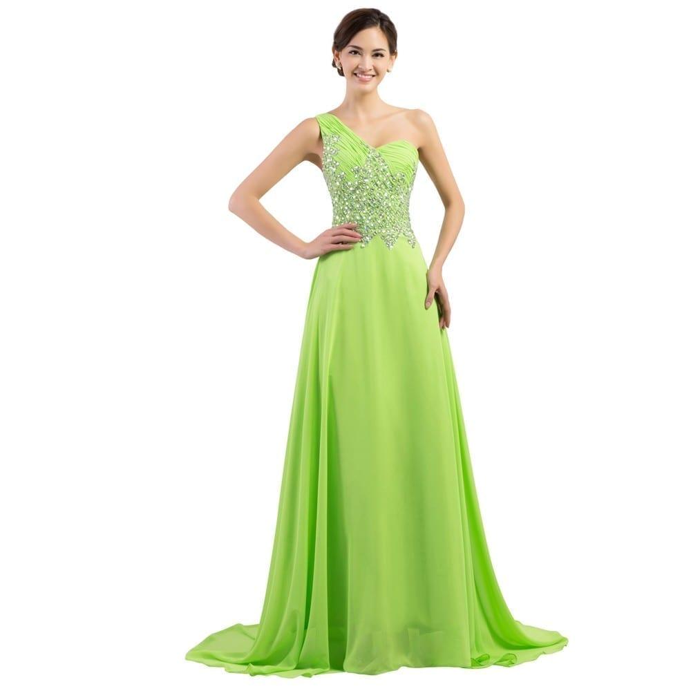 A-line Mermaid One Shoulder Long Bridesmaid Dress