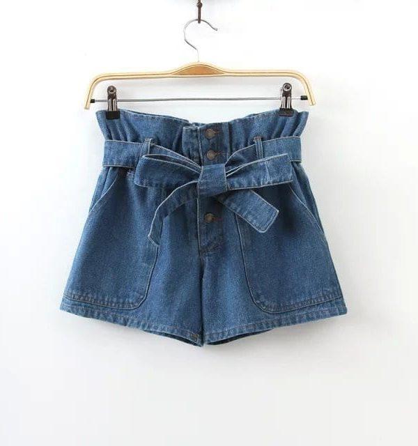 Bow Tie Blue Denim Shorts
