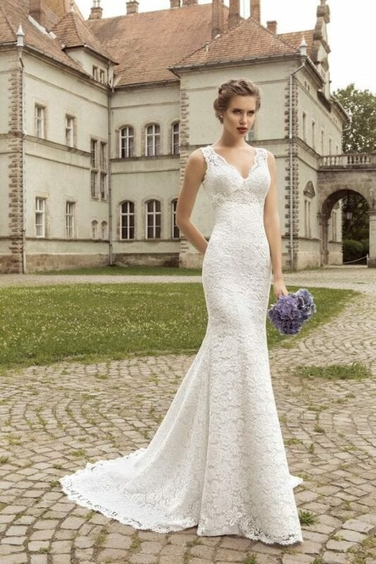 Front lace wedding dress