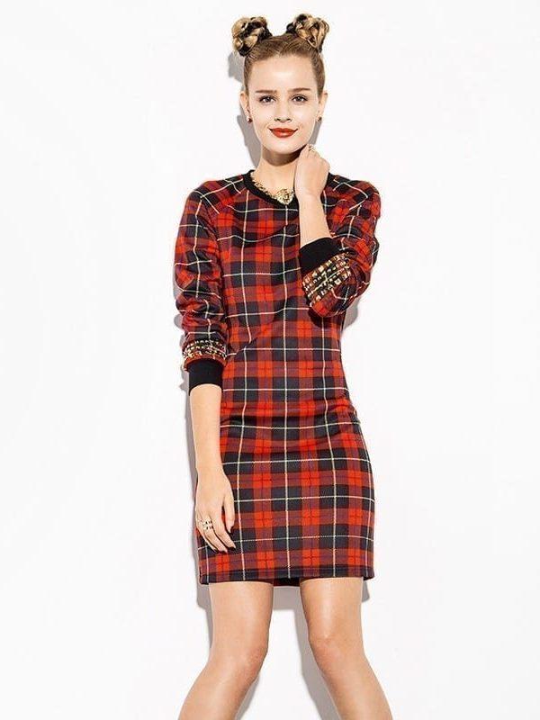 Red Plaid Rivet Decoration O-neck Long Sleeve Dress