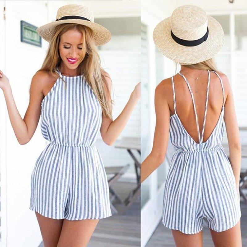 Striped Sleeveless Chiffon Jumpsuit