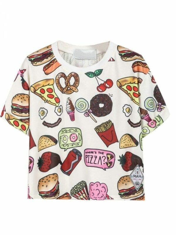 Fast Food Print T-shirt Crop Top