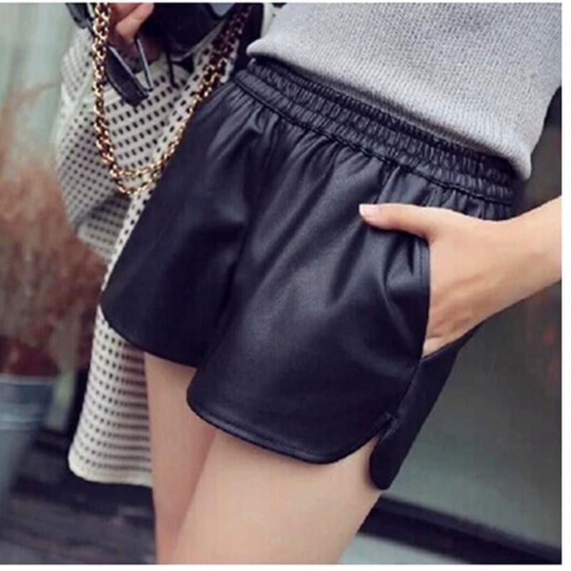 Leather Black Shorts With Pockets