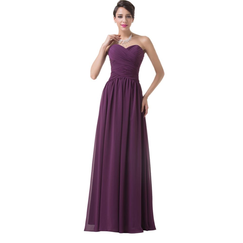 Elegant Long Purple Chiffon Bridesmaid Dress