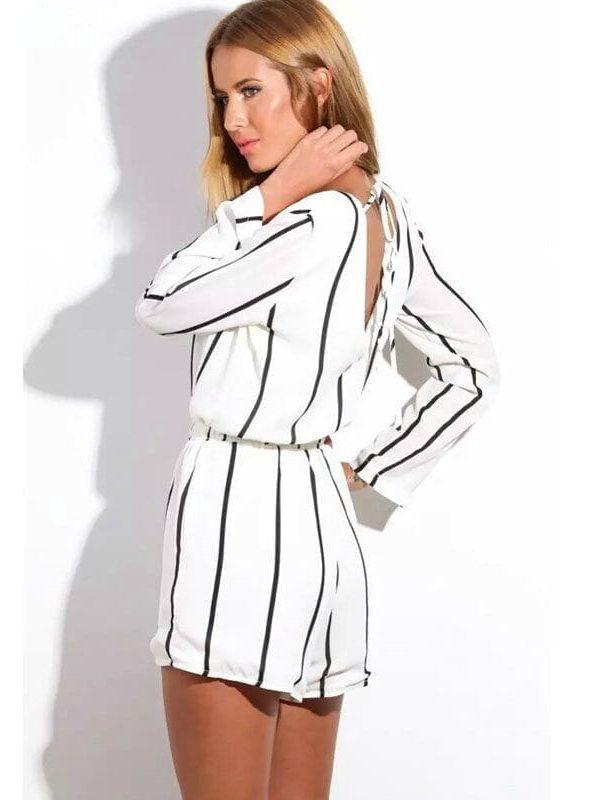 Long Sleeve Stripes Cut Out Back Shorts Jumpsuit
