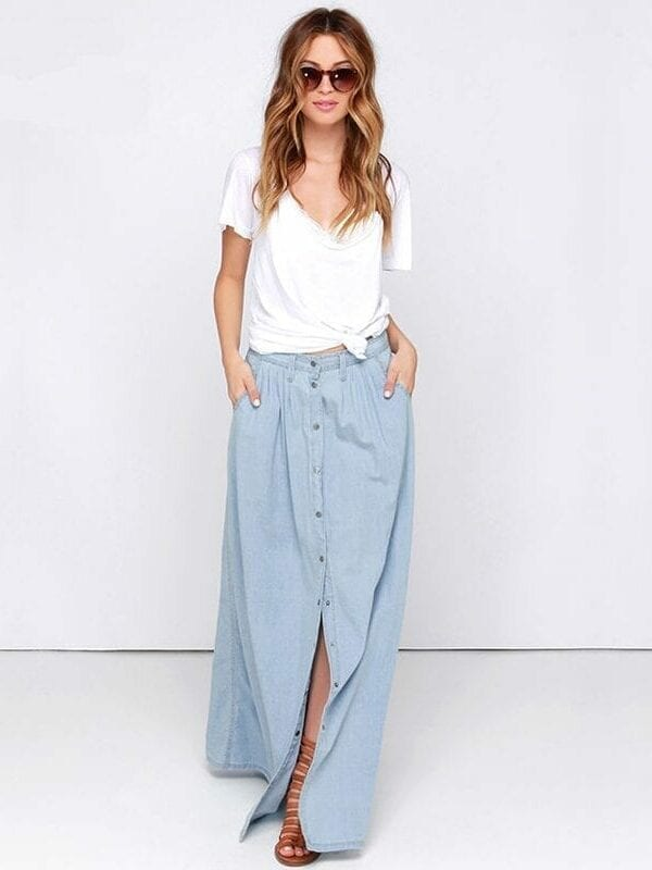 Loose High Waisted Breasted Long Denim Skirt
