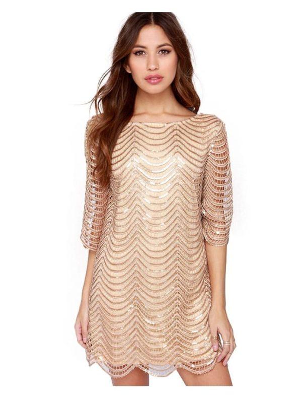 Lace Sequin Half Sleeve Mini Dress