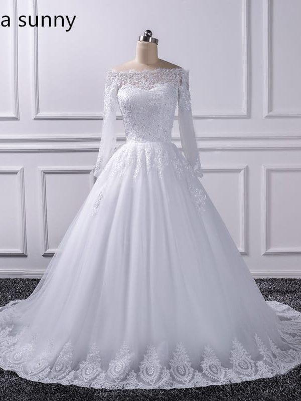 Long Sleeve Lace Vintage Princess Wedding Dress