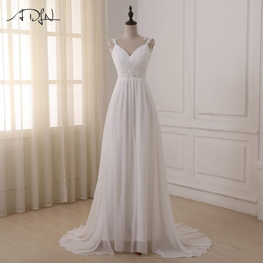 Spaghetti Straps Chiffon Lace Up Back Wedding Dress