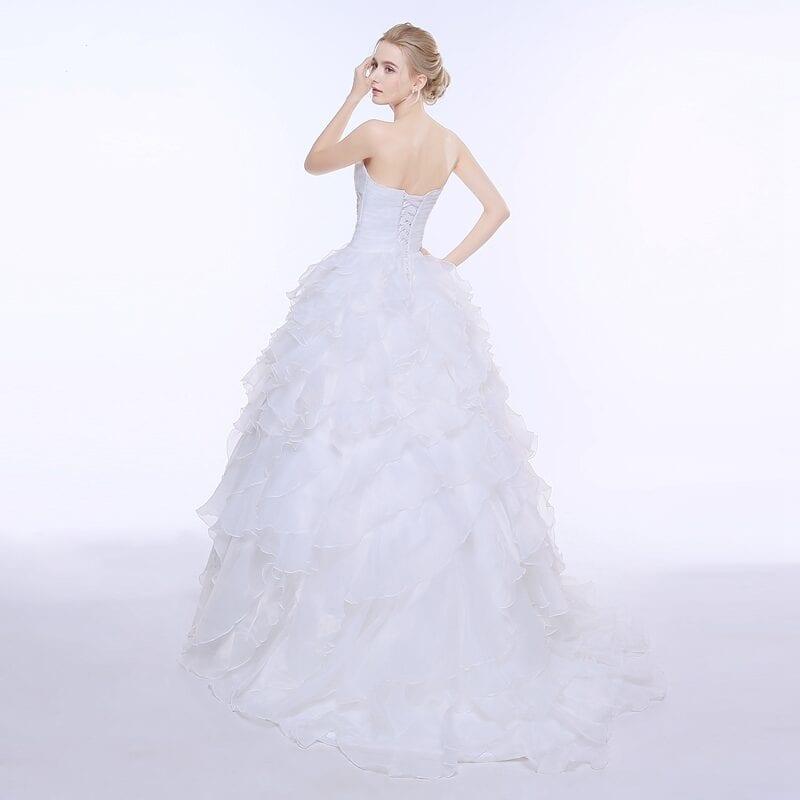 A-line Ruffles Beading Sweetheart Organza Wedding Dress