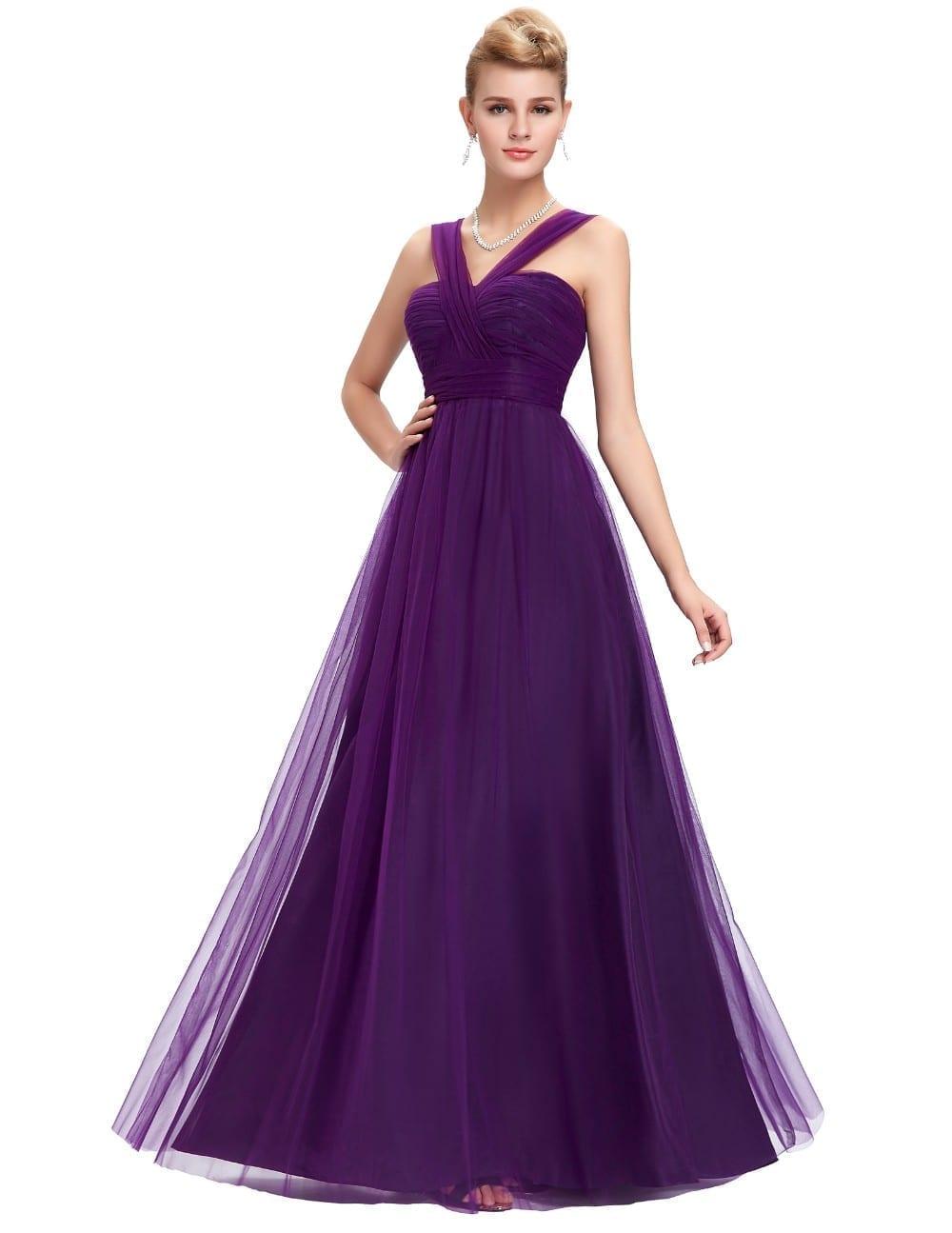 Long Purple Tulle Backless Elegant Bridesmaid Dress