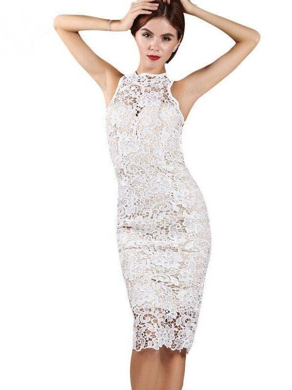 Lace Stitching Sleeveless Halter Dress