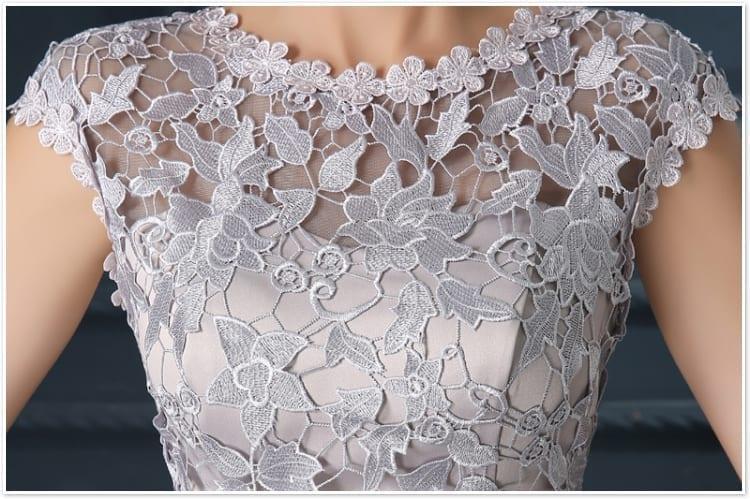 Elegant A-line O-neck Short Lace Evening Dress