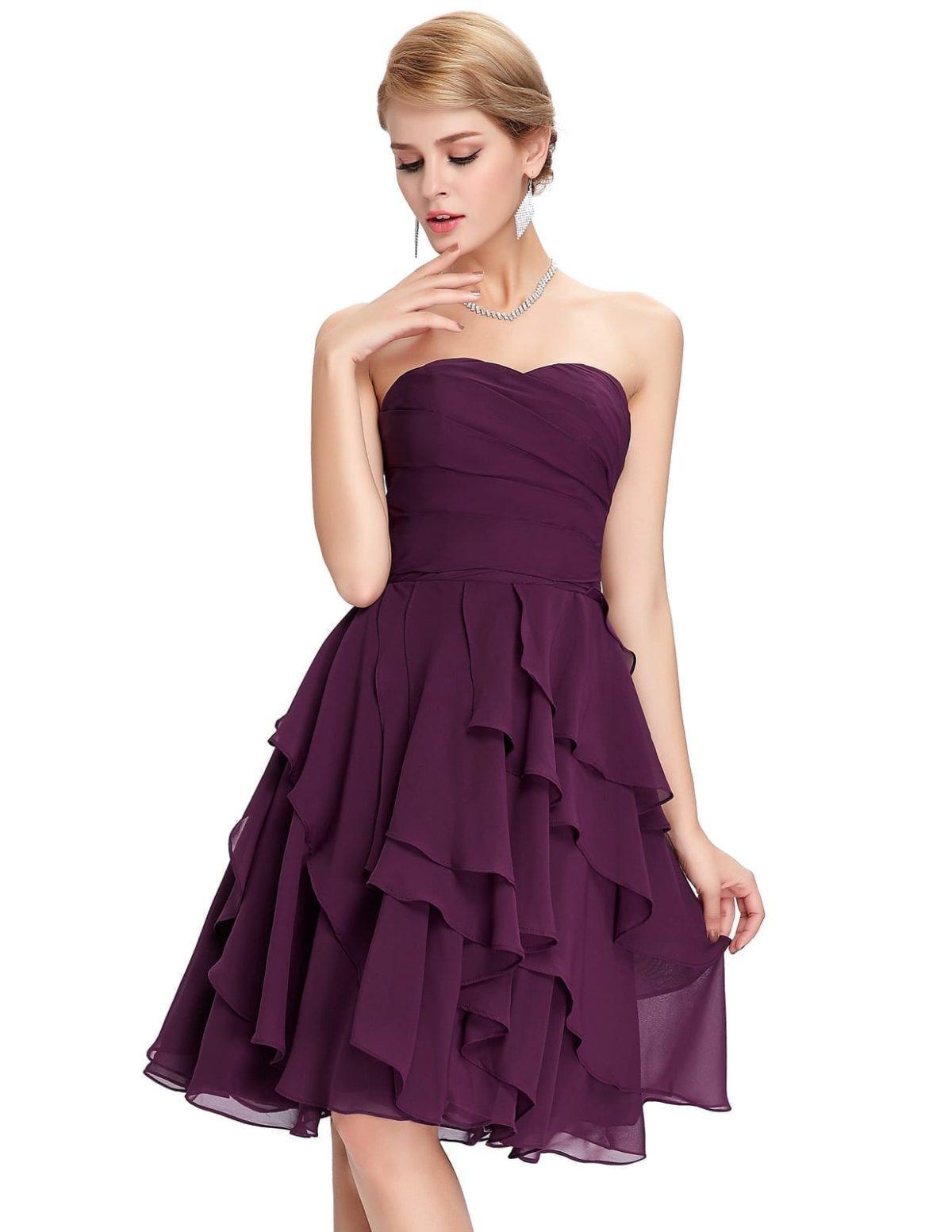 Short Purple A-line Knee-length Bridesmaid Dress