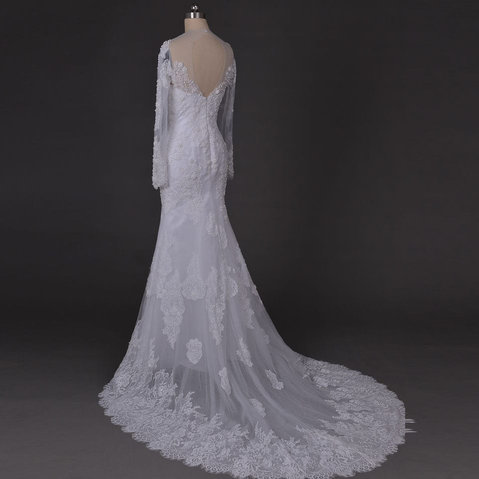 Long Sleeves Chapel Train Lace Mermaid Wedding Dress