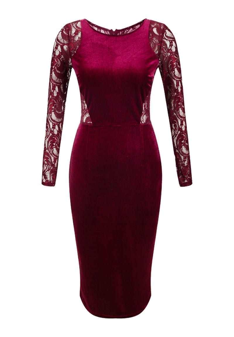 Lace Velvet Midi Bodycon Pencil Dress