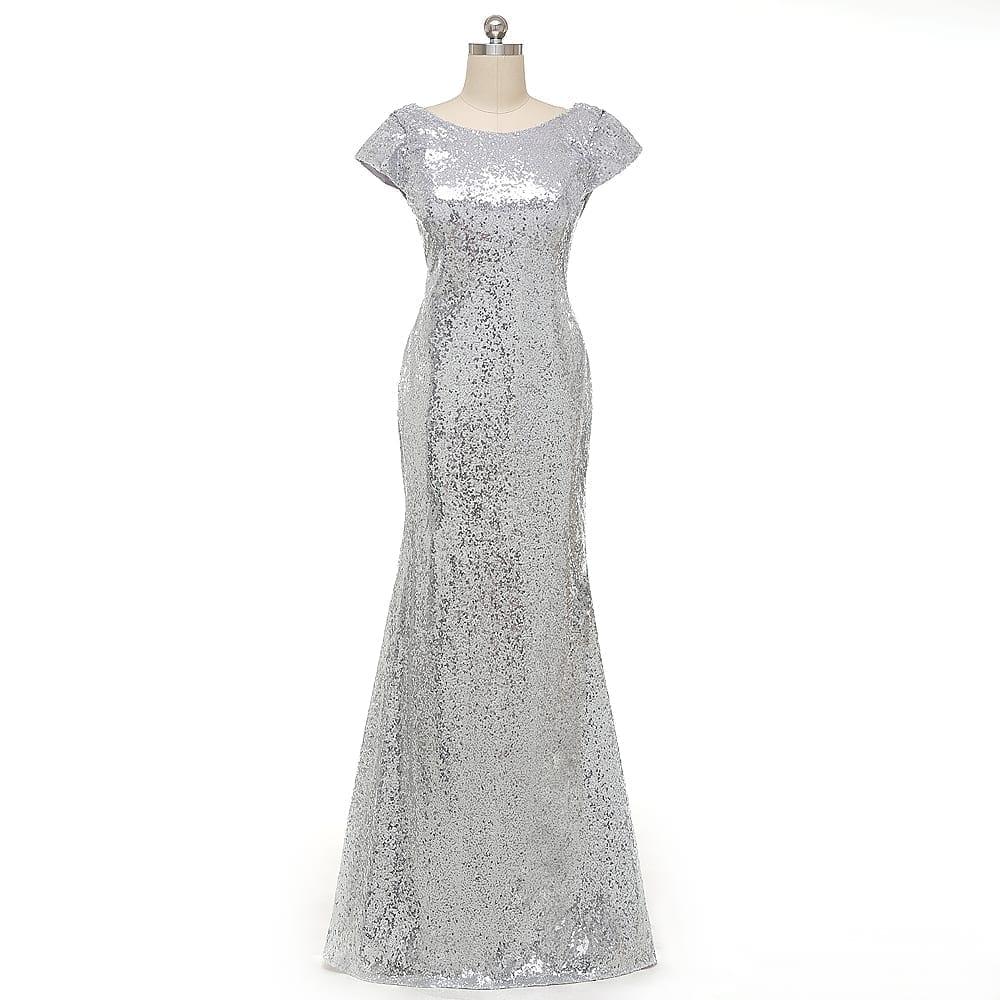 Sequined Short Sleeve Floor Length Bridesmaid Dress