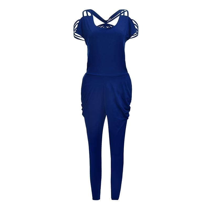 Blue Backless Hollow Out Full Length Pants Jumpsuit