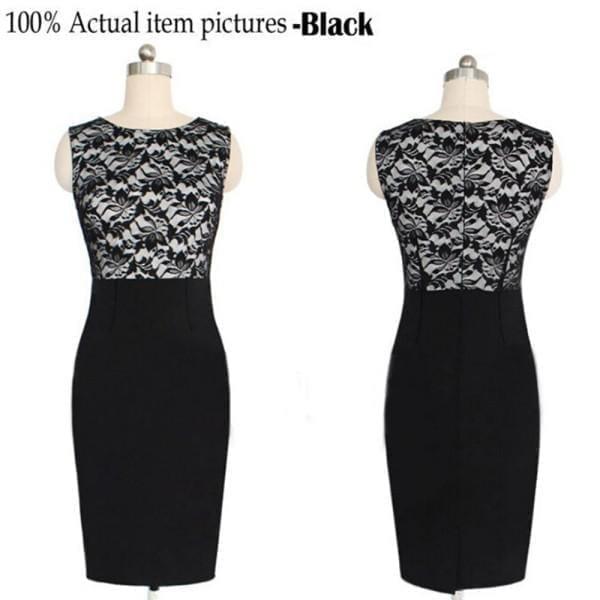 Lace Sleeveless Bodycon Pencil Dress