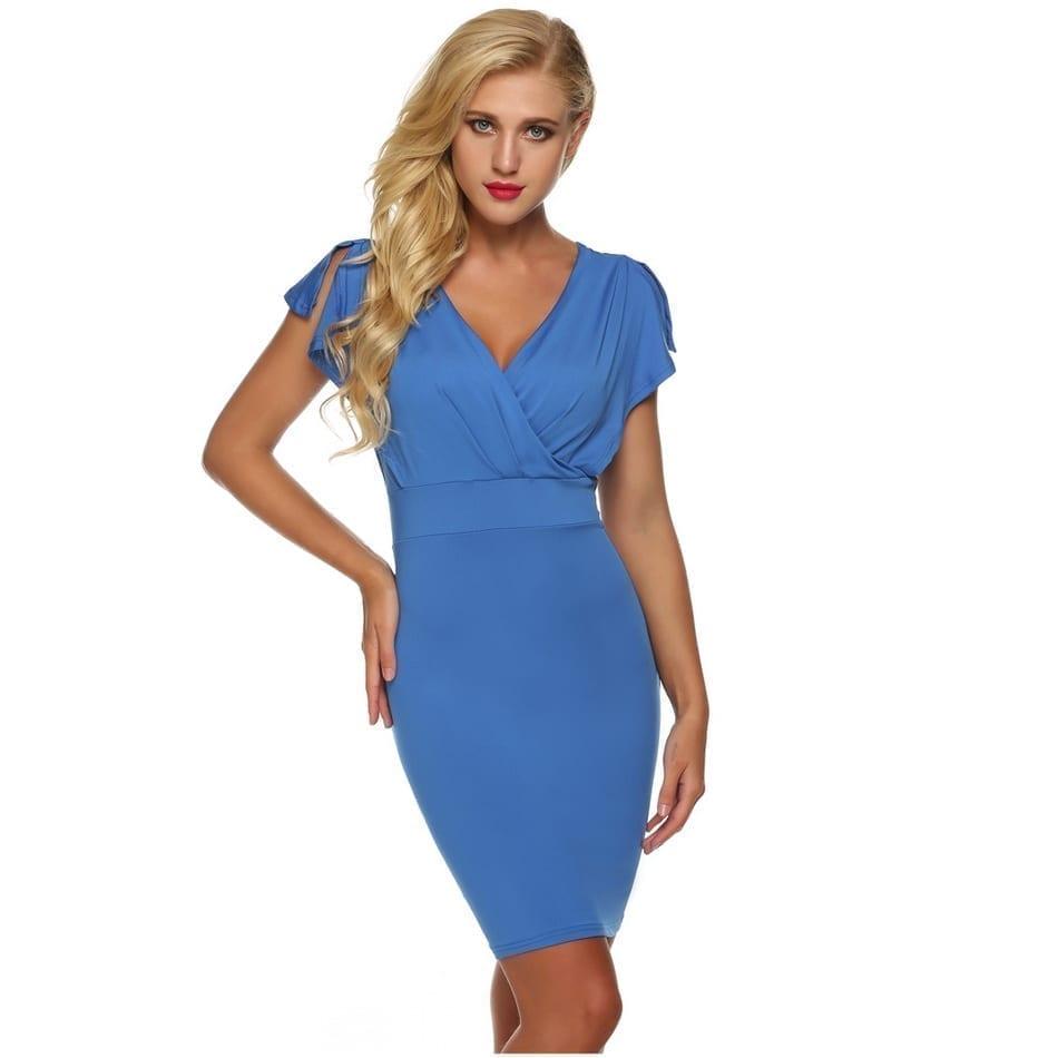 V-neck Slit Short Sleeve Bodycon Dress