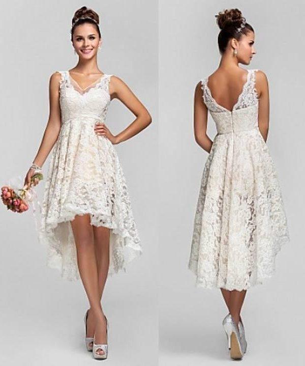 Lace High Low A-line Vintage Wedding Dresses