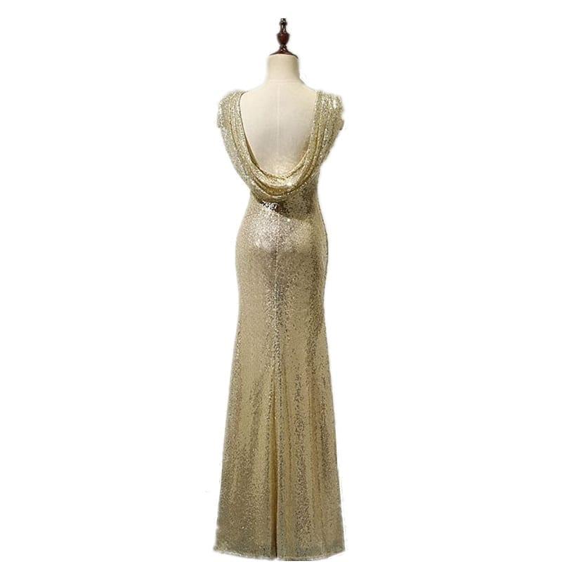 Low Back Cap Sleeves Long Sequin Bridesmaid Dress