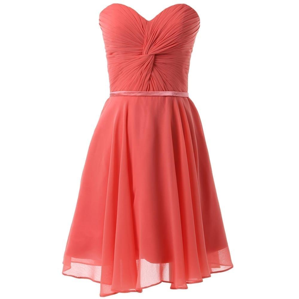 Elegant Strapless Short Chiffon Bridesmaid Dress