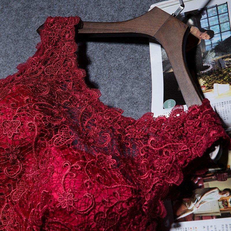 Royal Blue Burgundy Boat Neck Lace Satin Long Evening Bridesmaid Dress