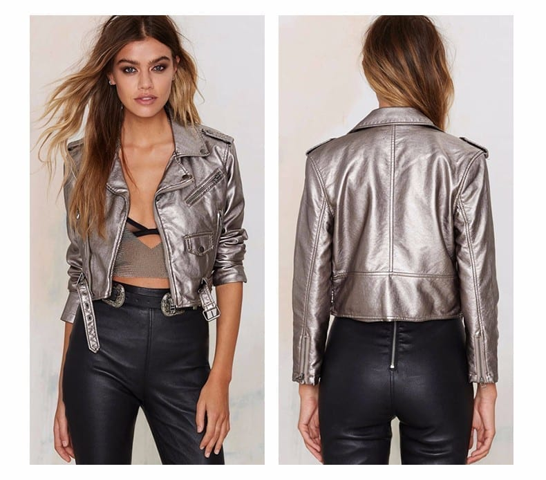 Silver Gray Punk Style Short Jacket