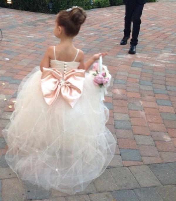 Spaghetti Straps Crystals Beads Pleats Puffy Tulle Skirt Flower Girls Dress