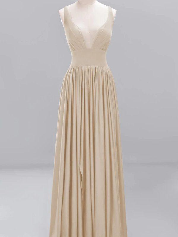 Champagne satin v neck long bridesmaid dress