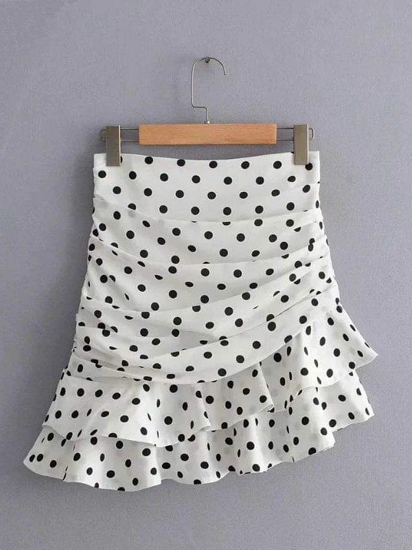 Polka dot print pleated asymmetrical skirt