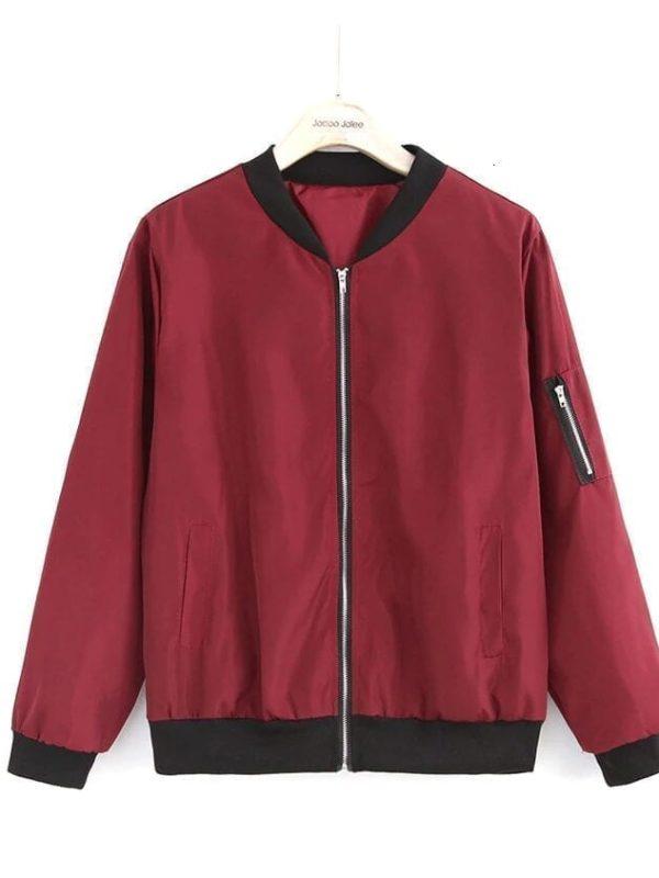 Casual Bomber Basic Zipper Jacket