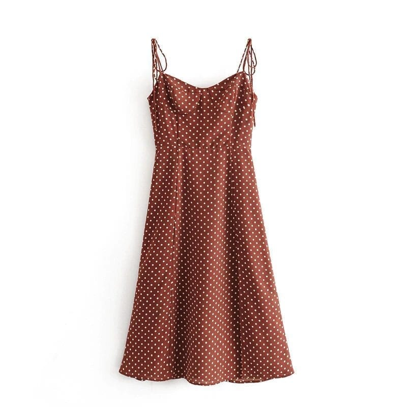 Vintage polka dot backless halter hem slits a-line chiffon dress