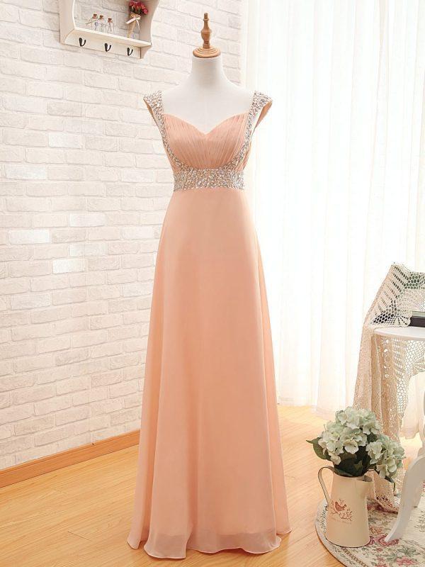Long Peach Cap Sleeves Pleat Beaded Bridesmaid Dress
