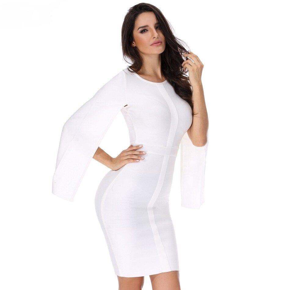 White Long Sleeve Elegant Bodycon Dress