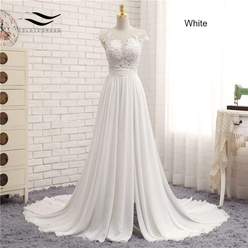 Romantic V-neck Chiffon Lace A-line Beach Wedding Dress