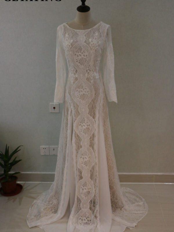 Vintage Lace Long Sleeve Boho Beach Mermaid Wedding Dress