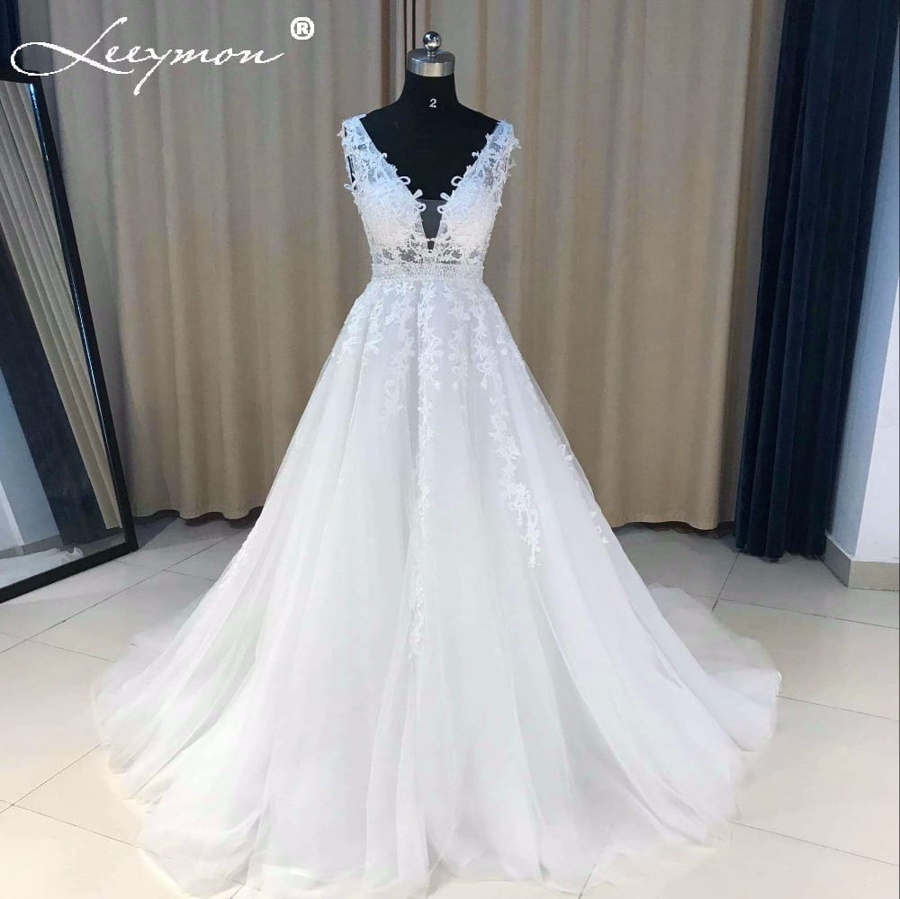 Lace Beaded A-line V-neck Backless Tulle Wedding Dress