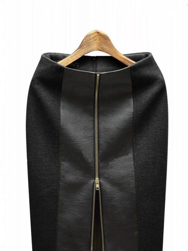 High Waist Zipper Leather Pencil Skirt