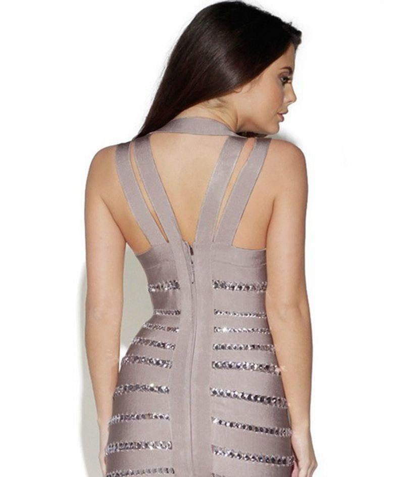 Bandage Halter V-neck Crystal Cocktail Party Dress