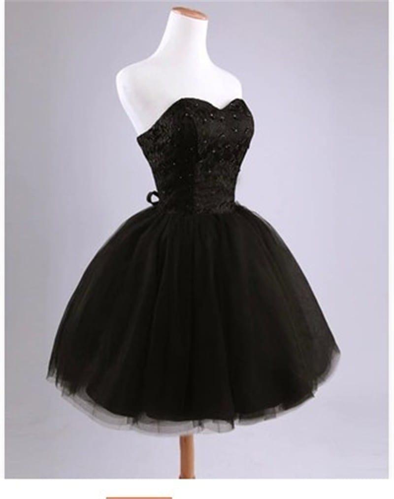 Sweetheart Beaded Short Lace Organza Bridesmaid Dress