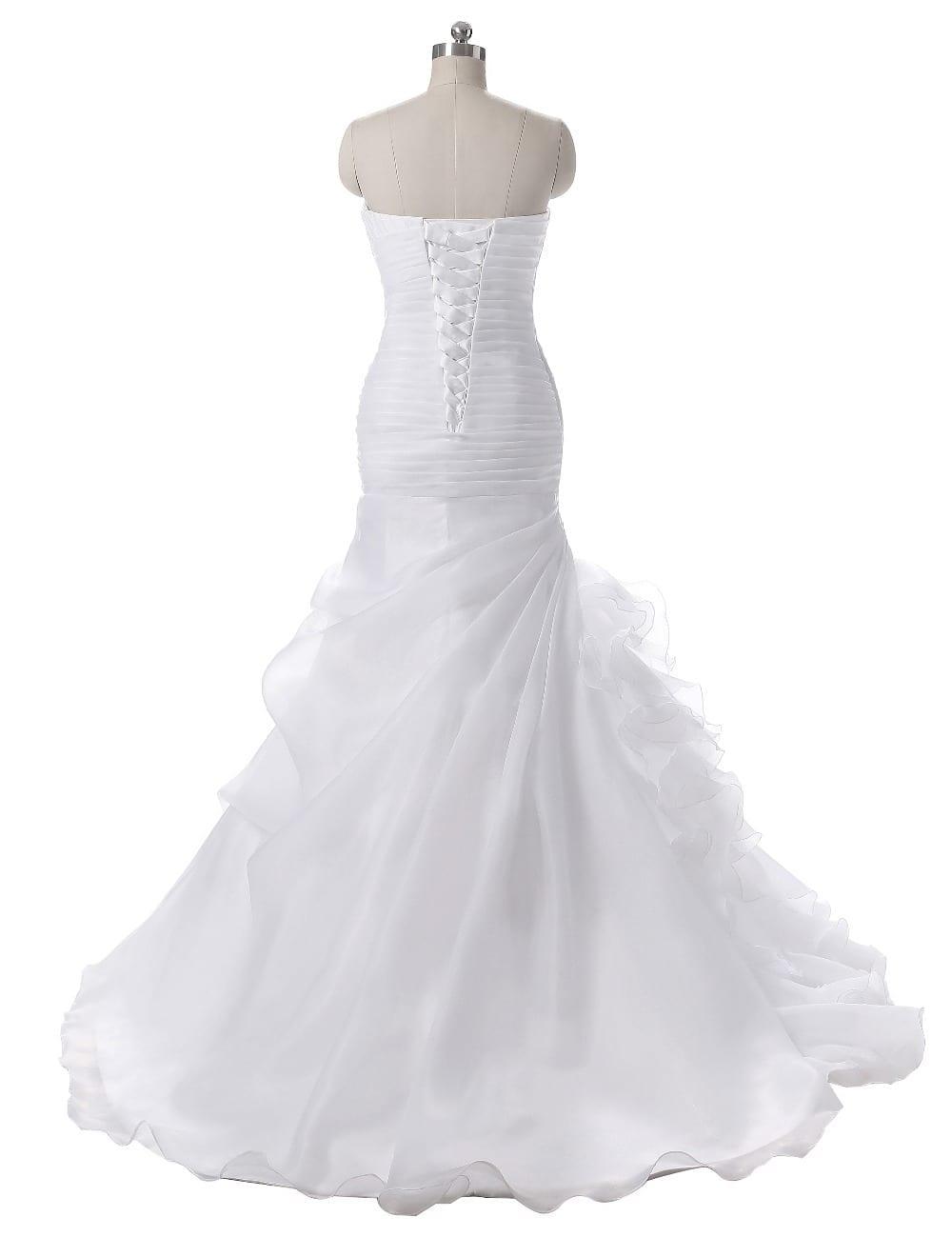 Elegant Ruffles Pleats Sweep Train Mermaid Wedding Dress